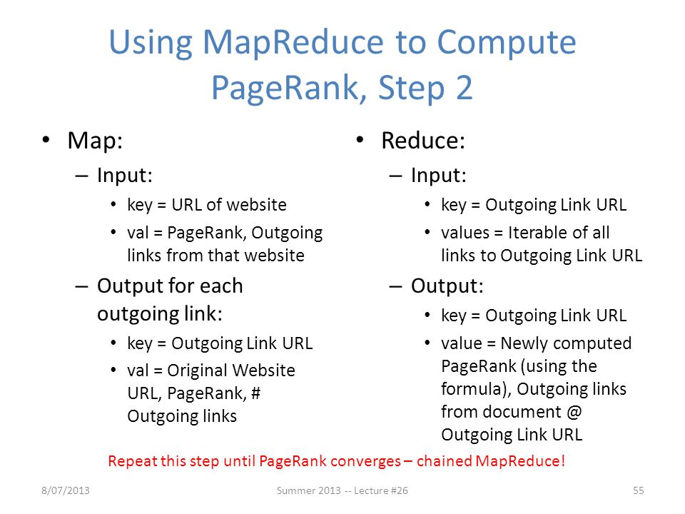 Using MapReduce to Compute PageRank, Step 2