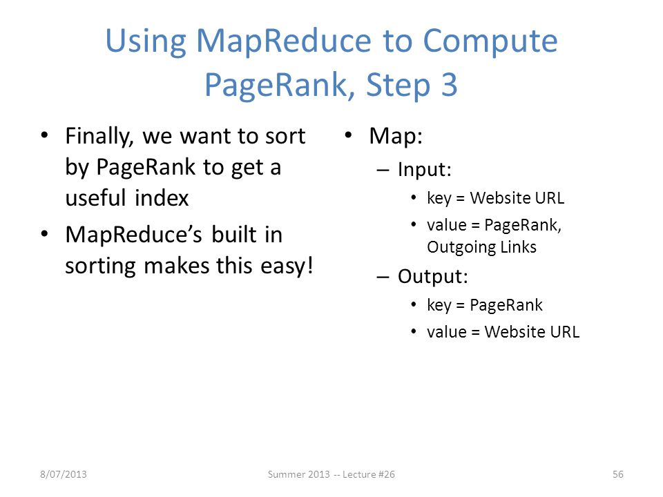 Using MapReduce to Compute PageRank, Step 3