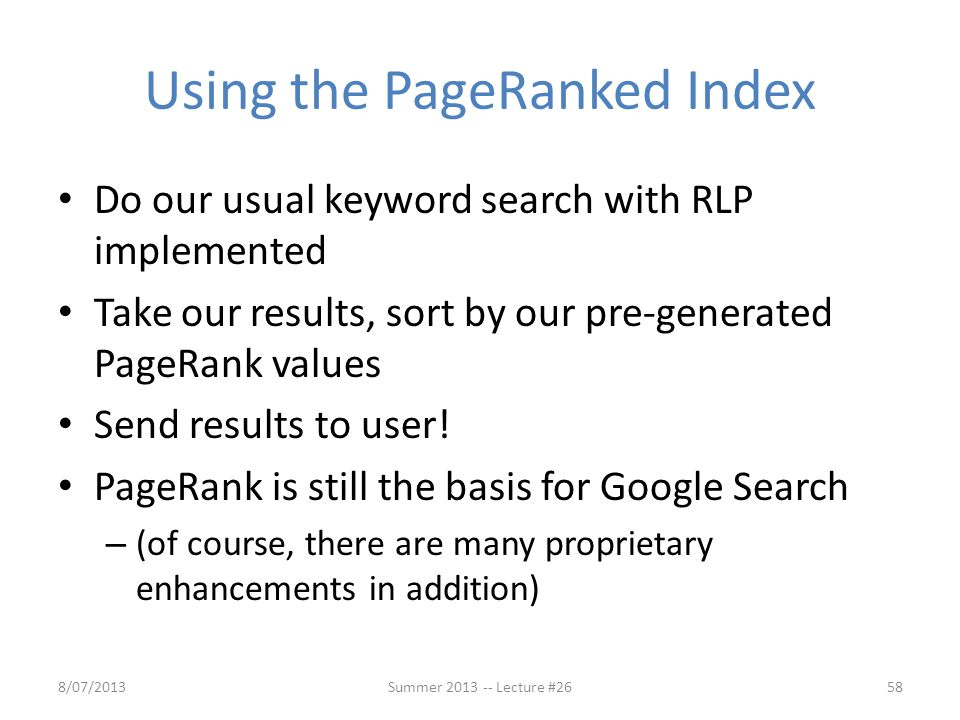 Using the PageRanked Index