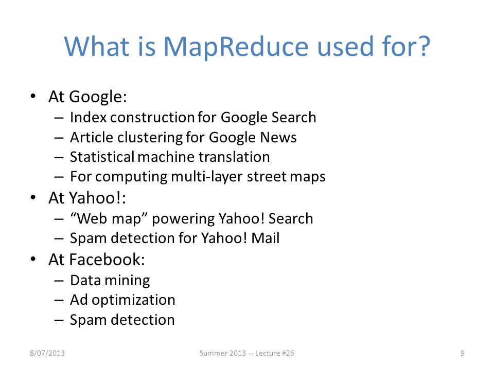 What is MapReduce used for