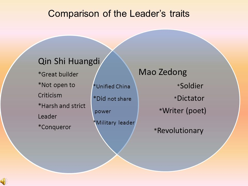 Comparison of the Leader's traits