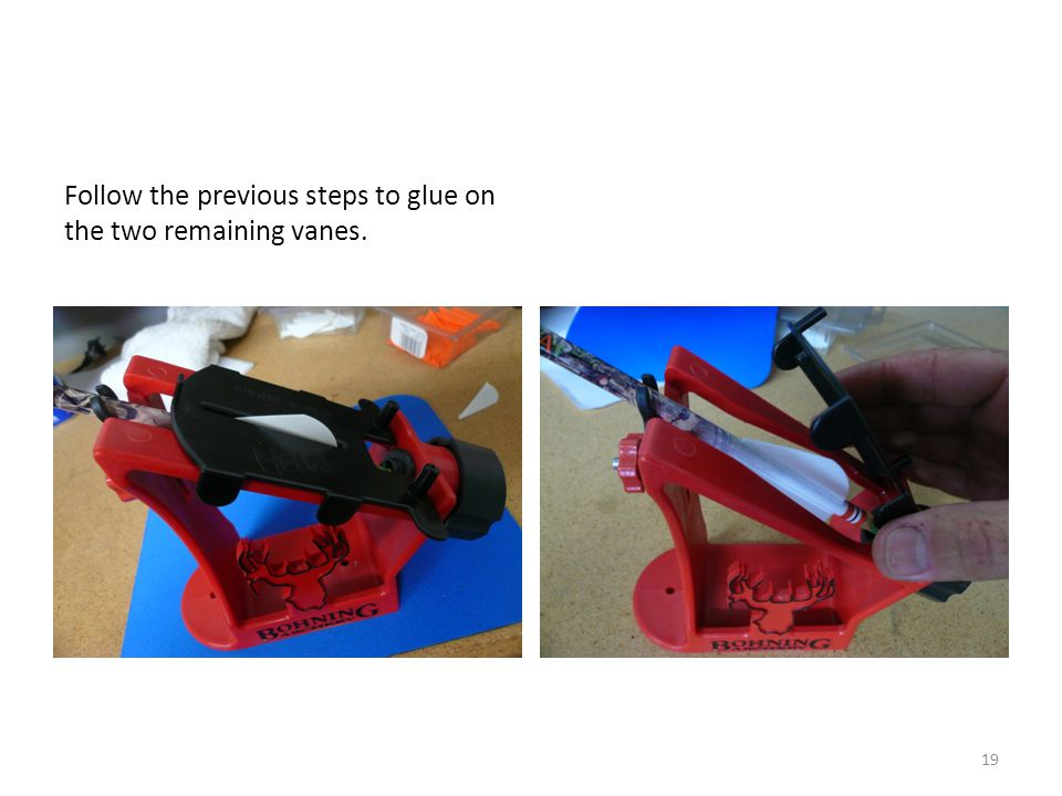 Follow the previous steps to glue on the two remaining vanes.