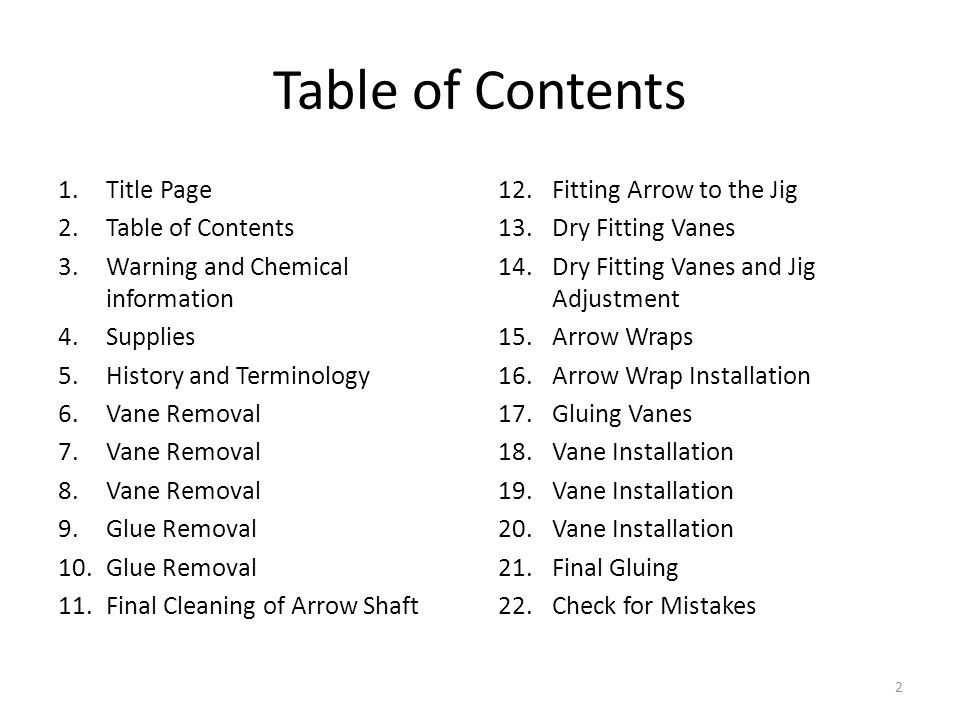 Table of Contents Title Page Table of Contents