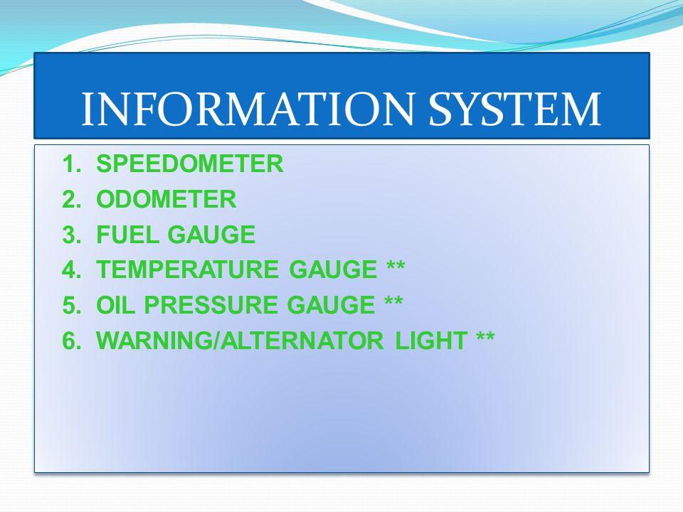 INFORMATION SYSTEM 1. SPEEDOMETER 2. ODOMETER 3.