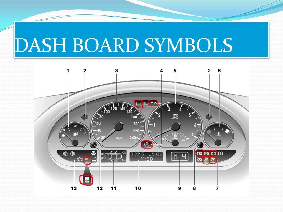 DASH BOARD SYMBOLS