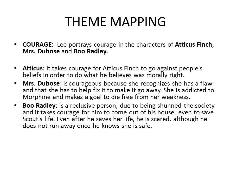 THEME MAPPING COURAGE: Lee portrays courage in the characters of Atticus Finch, Mrs. Dubose and Boo Radley.