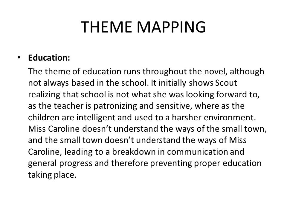 THEME MAPPING Education: