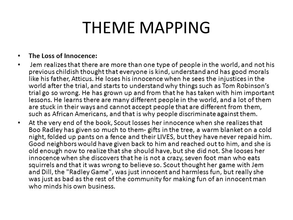 THEME MAPPING The Loss of Innocence: