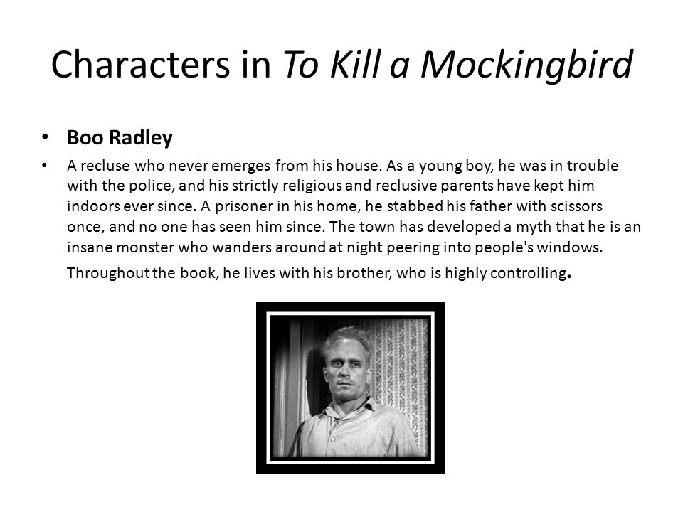 stereotypes against boo radley Everything you ever wanted to know about arthur radley (boo) in to kill a   winter, and his children shivered at the front gate, silhouetted against a blazing.
