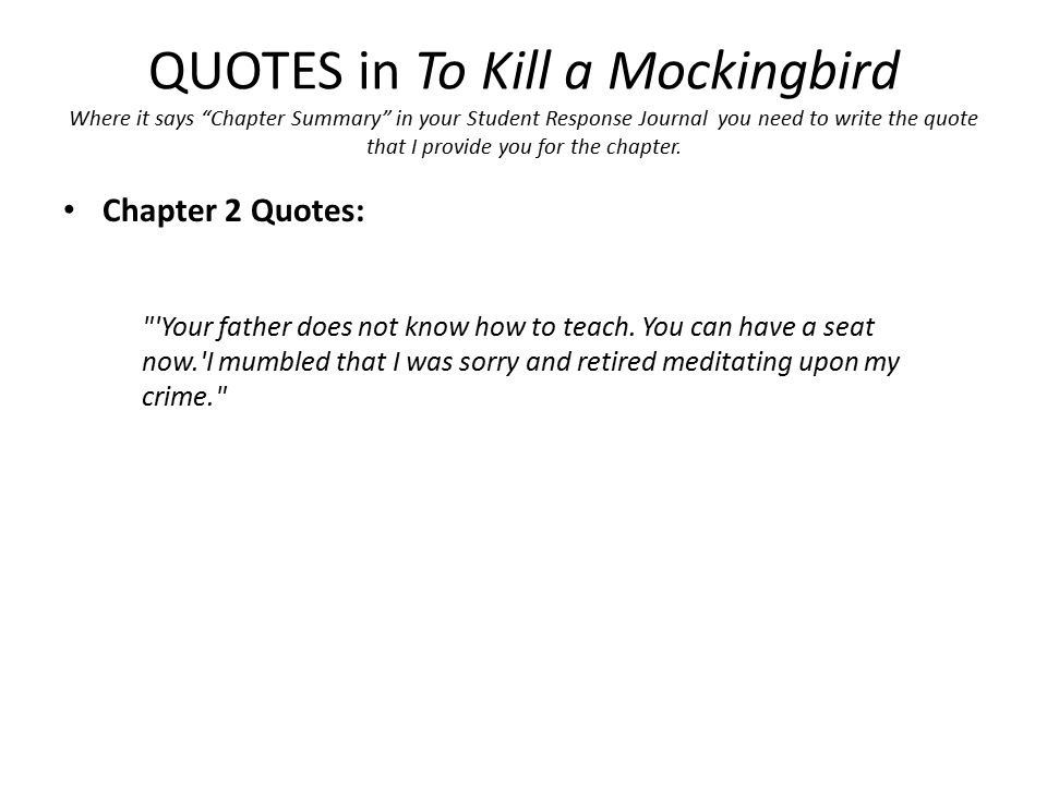 to kill a mockingbird chapter 1 summary Plot summary of to kill a mockingbird by harper lee part of a free  topic  tracking: courage topic tracking: innocence chapter 1 chapter 2 chapter  3.