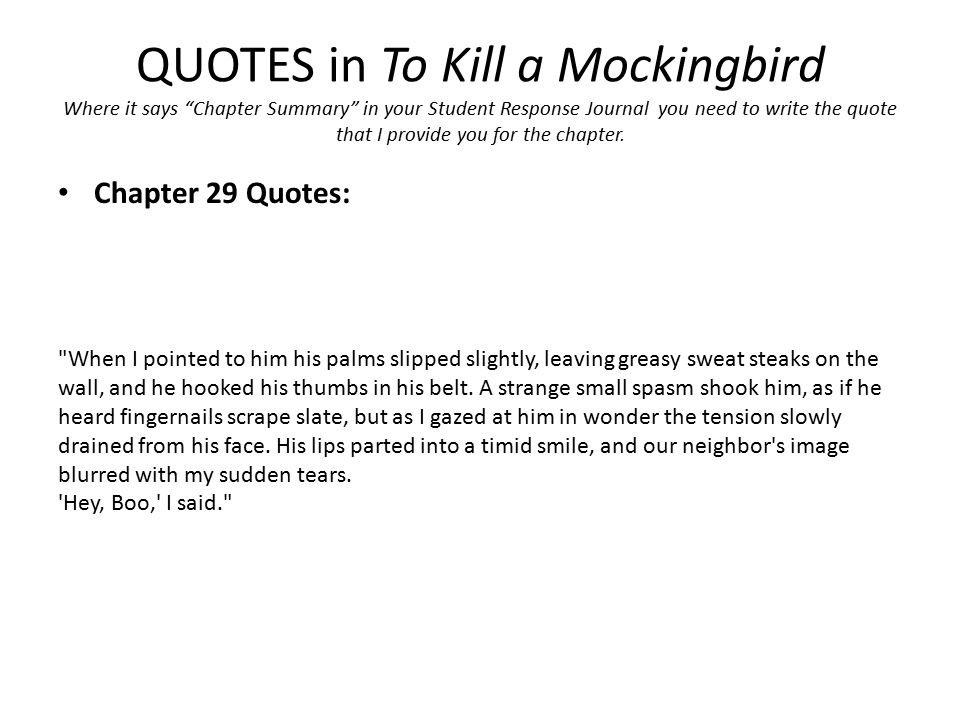QUOTES in To Kill a Mockingbird Where it says Chapter Summary in your Student Response Journal you need to write the quote that I provide you for the chapter.