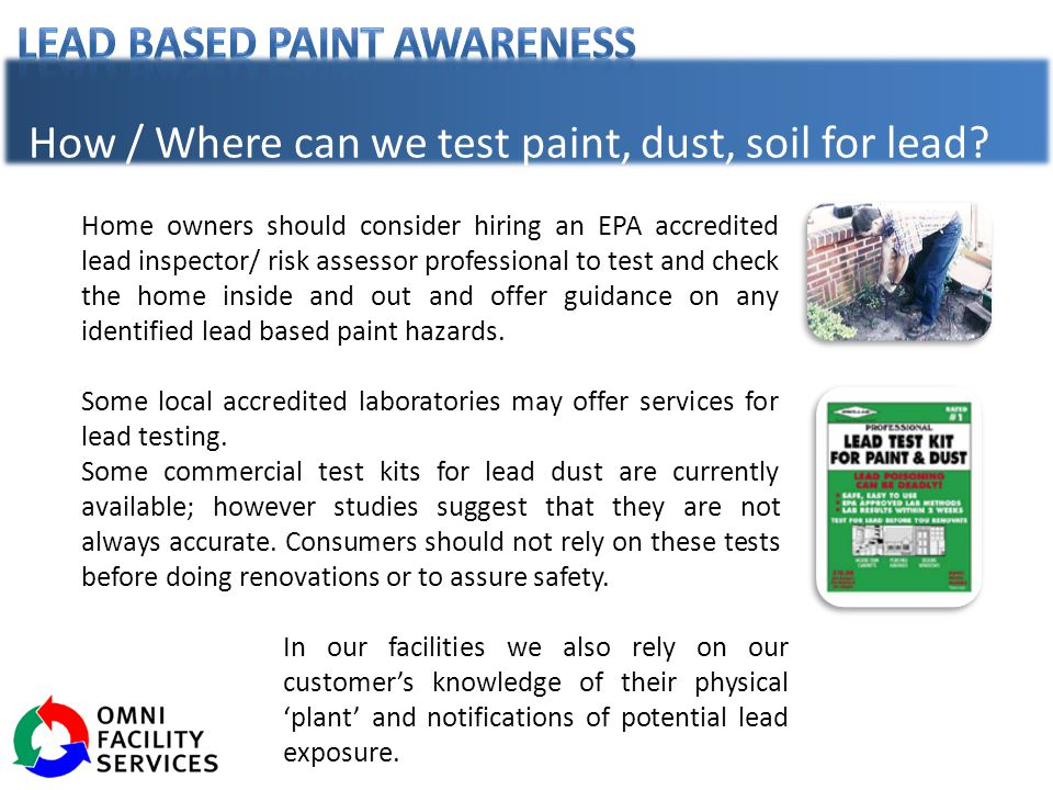 How / Where can we test paint, dust, soil for lead