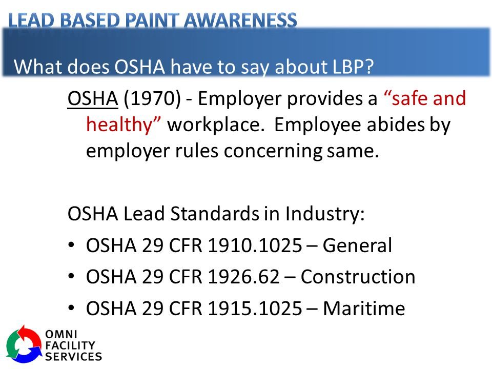 What does OSHA have to say about LBP