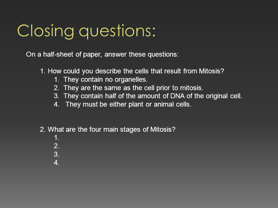 Closing questions: On a half-sheet of paper, answer these questions: