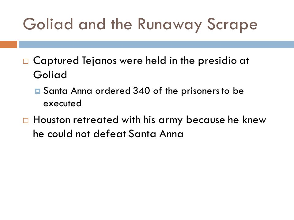 Goliad and the Runaway Scrape