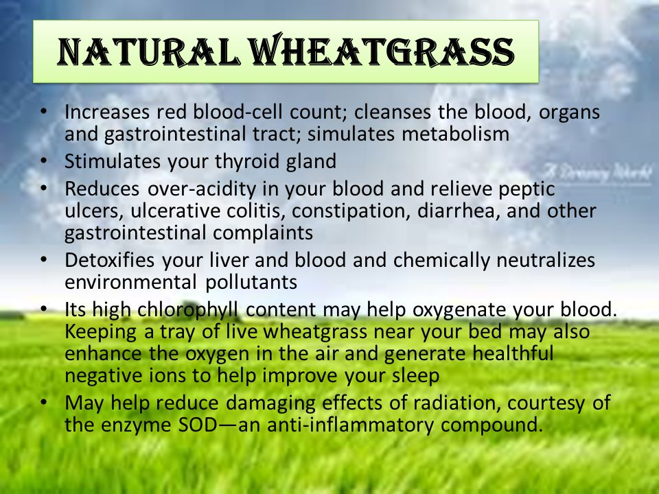 NATURAL WHEATGRASS Increases red blood-cell count; cleanses the blood, organs and gastrointestinal tract; simulates metabolism.