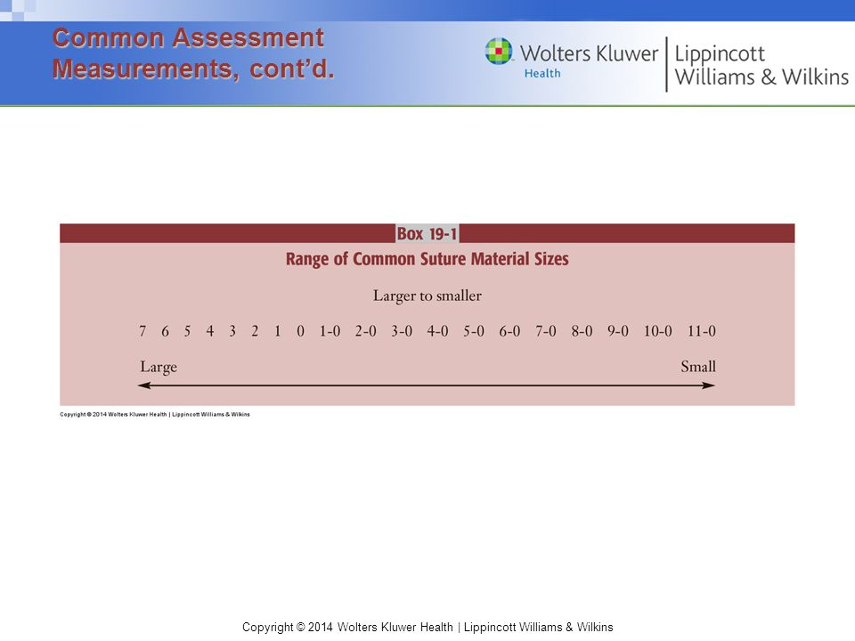 Common Assessment Measurements, cont'd.