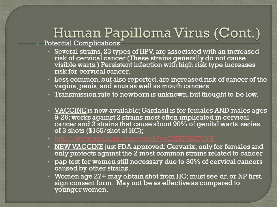 Human Papilloma Virus (Cont.)