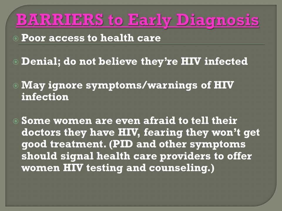 BARRIERS to Early Diagnosis
