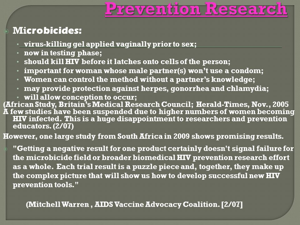 Prevention Research Microbicides: