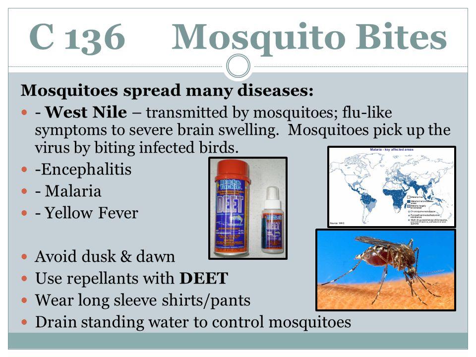 C 136 Mosquito Bites Mosquitoes spread many diseases: