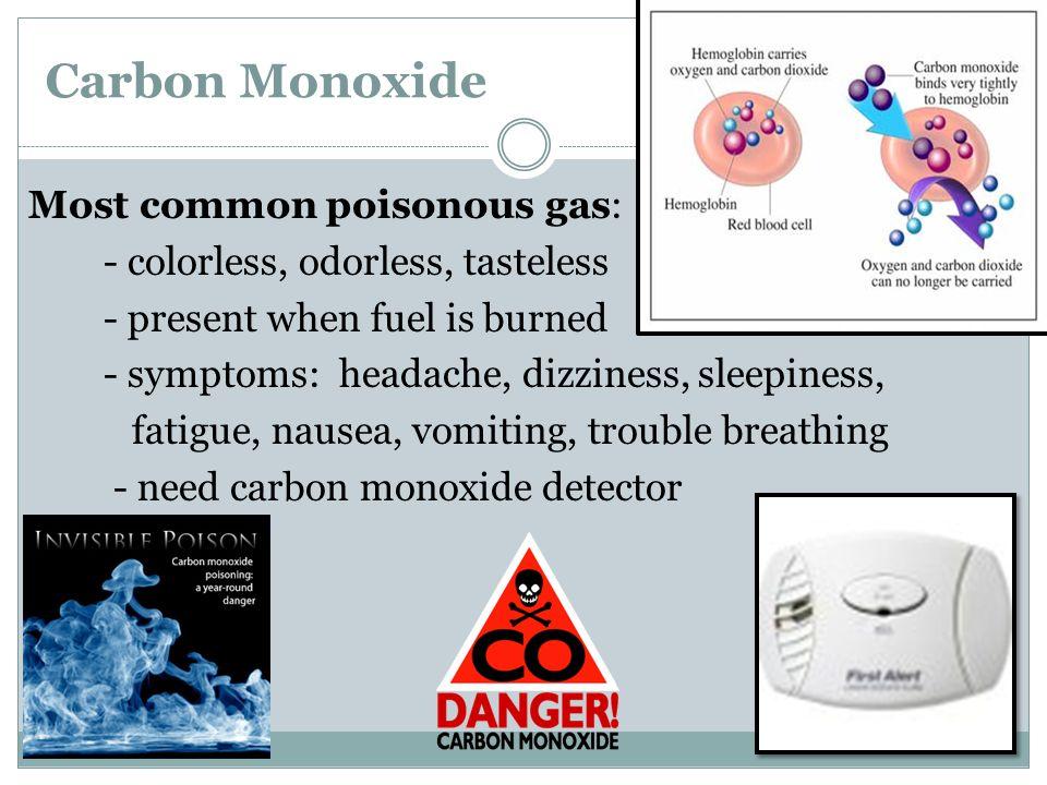 Carbon Monoxide Most common poisonous gas: