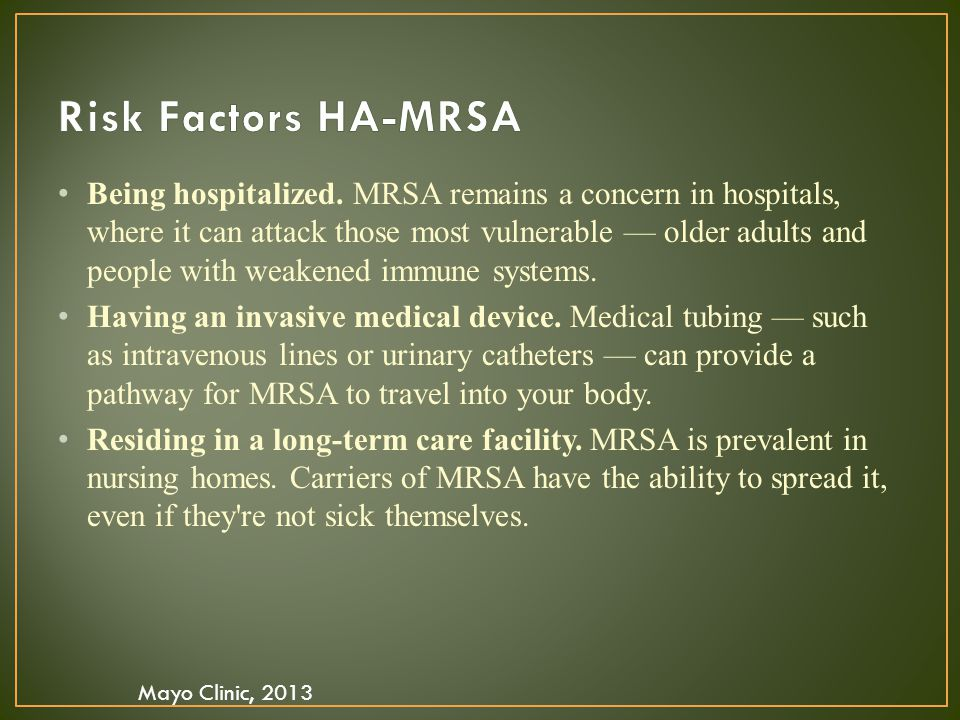 Risk Factors HA-MRSA