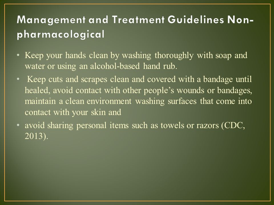 Management and Treatment Guidelines Non-pharmacological
