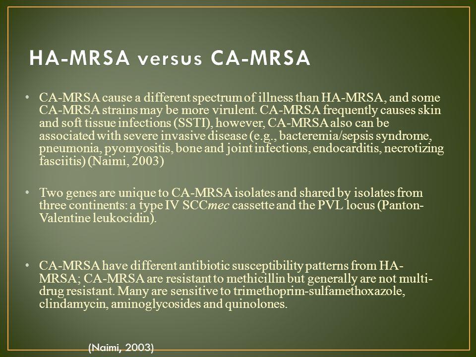HA-MRSA versus CA-MRSA