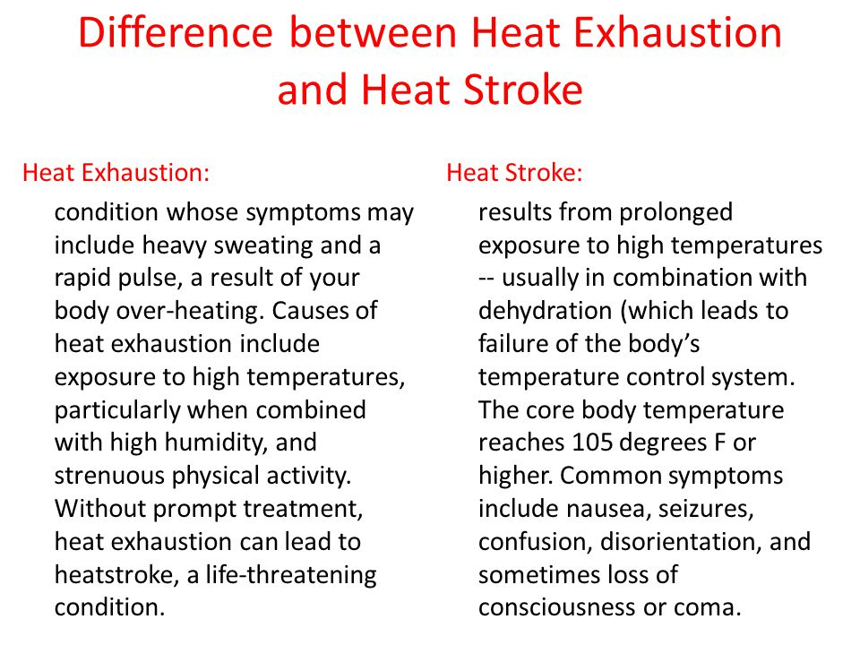 Difference between Heat Exhaustion and Heat Stroke