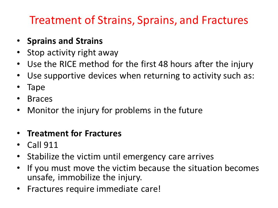 Treatment of Strains, Sprains, and Fractures
