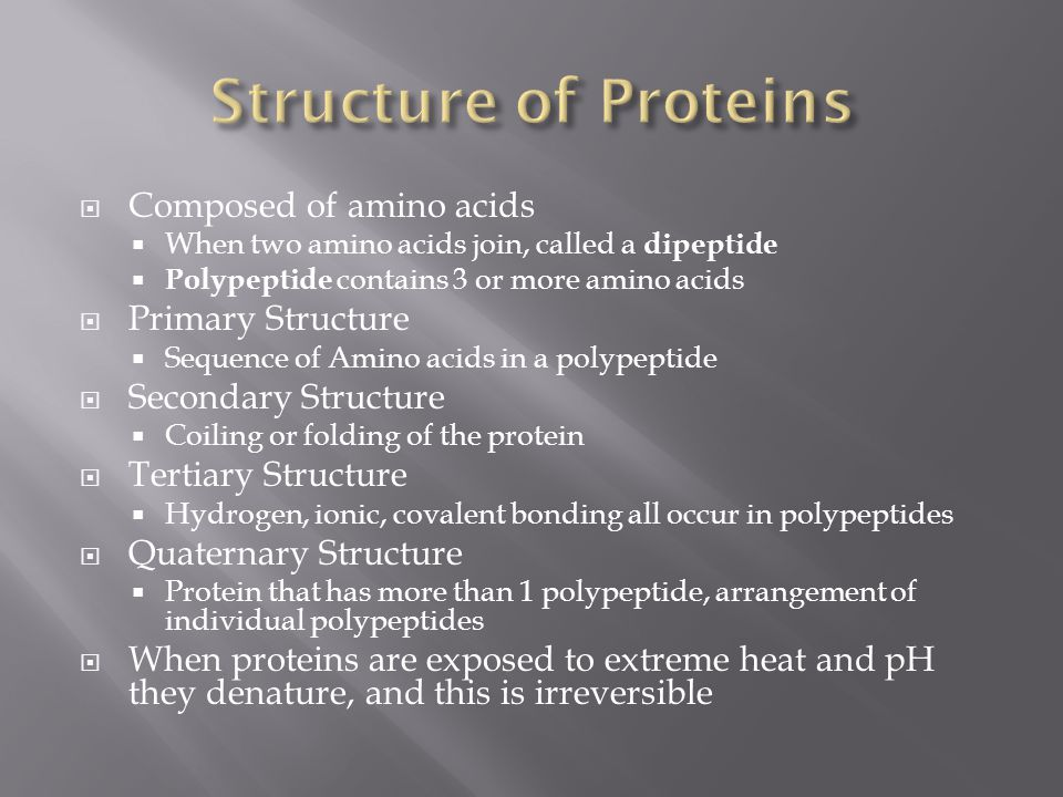 Structure of Proteins Composed of amino acids Primary Structure