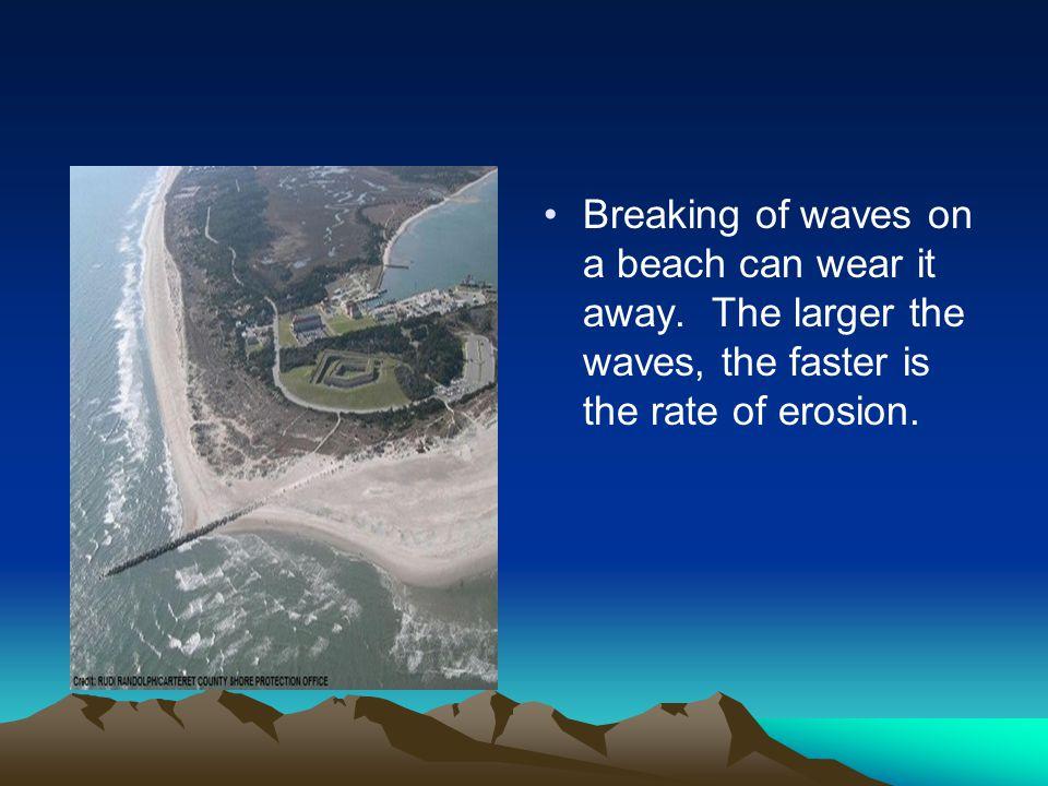 Breaking of waves on a beach can wear it away
