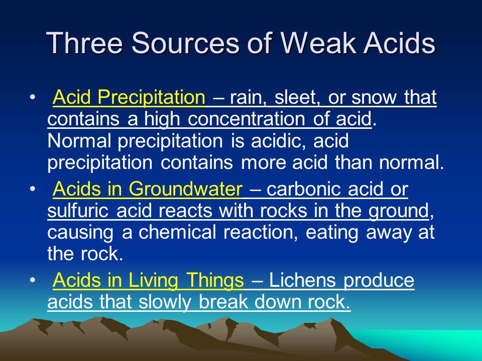 Three Sources of Weak Acids