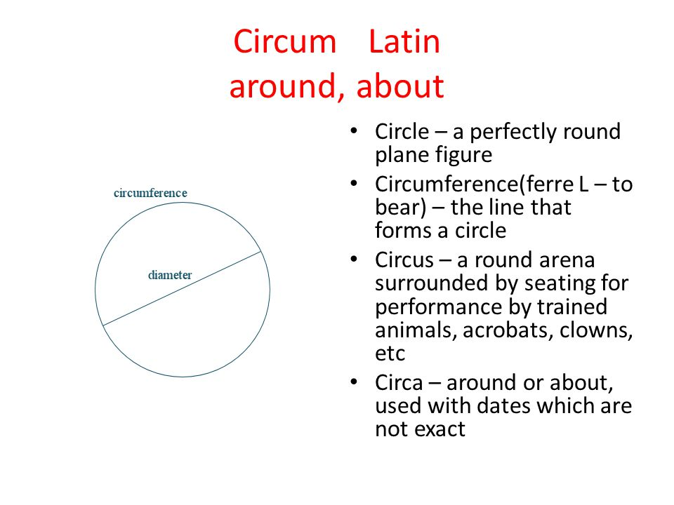 Circum Latin around, about