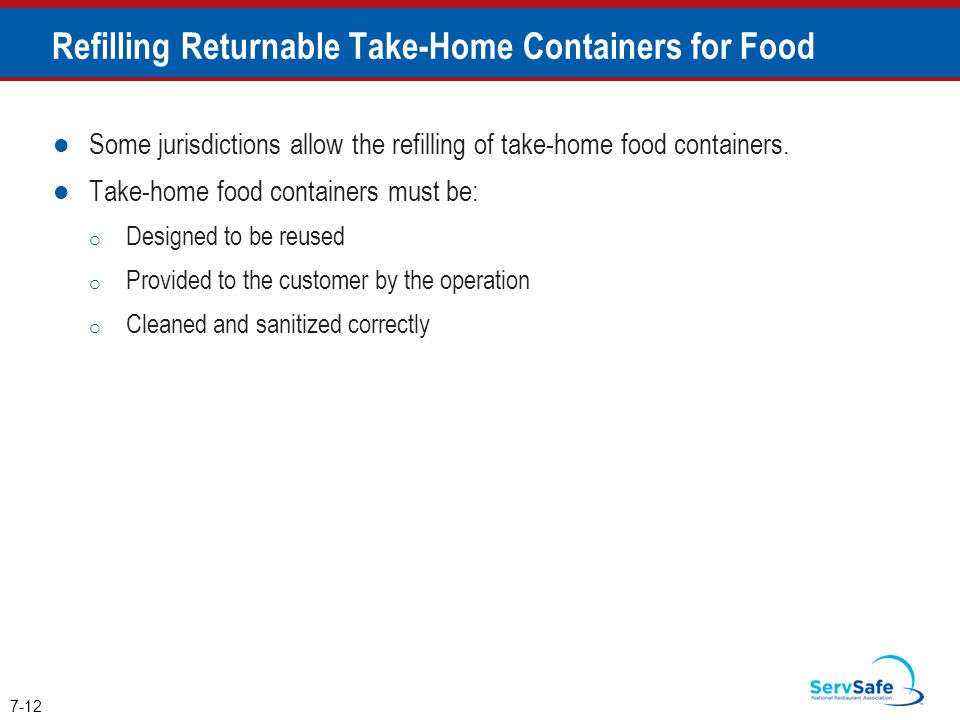 Refilling Returnable Take-Home Containers for Food