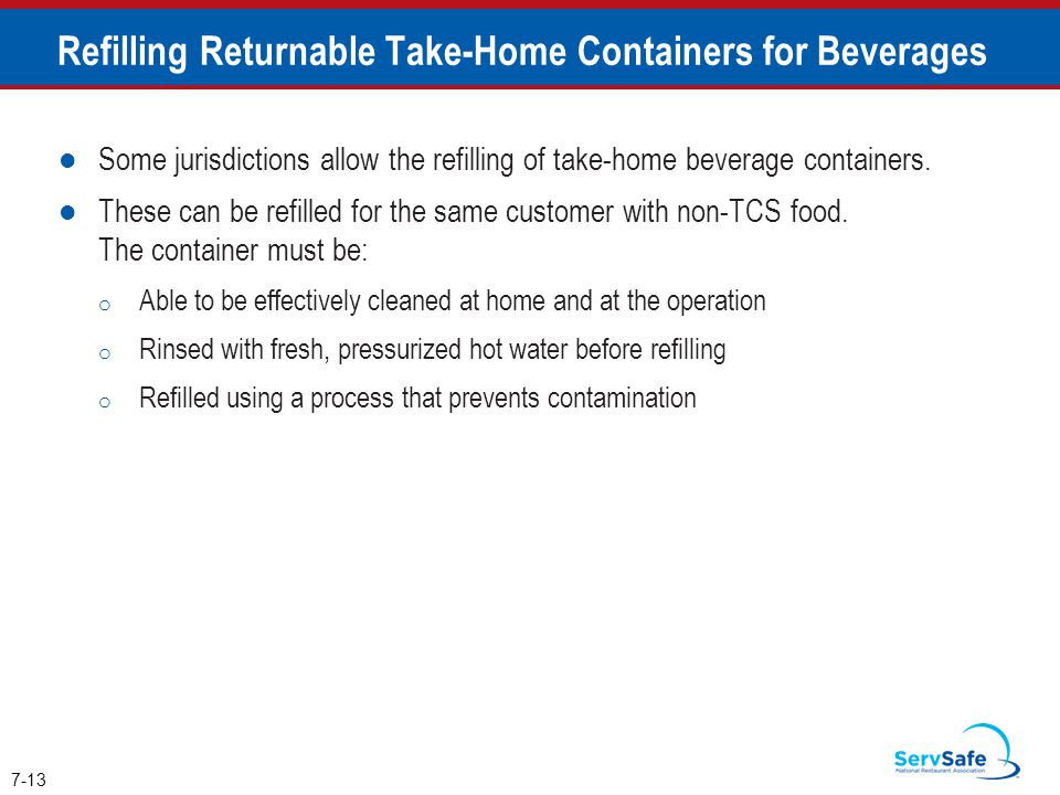 Refilling Returnable Take-Home Containers for Beverages