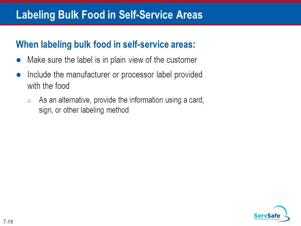 Labeling Bulk Food in Self-Service Areas