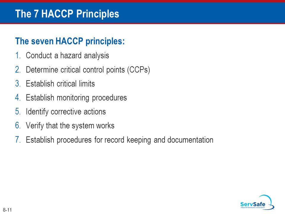 The 7 HACCP Principles The seven HACCP principles: