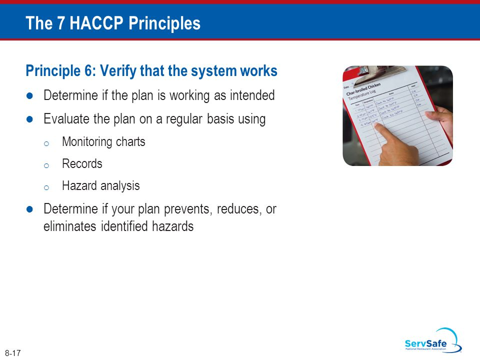 The 7 HACCP Principles Principle 6: Verify that the system works