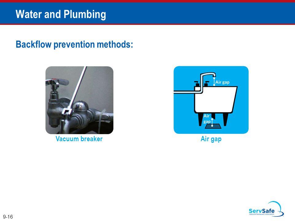 Water and Plumbing Backflow prevention methods: Vacuum breaker Air gap