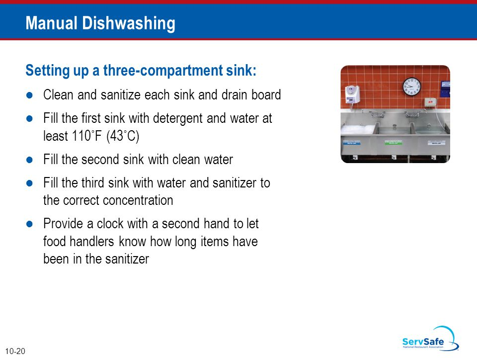 Manual Dishwashing Setting up a three-compartment sink: