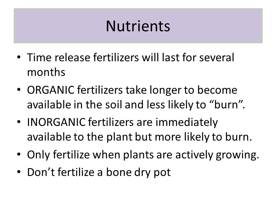 Nutrients Time release fertilizers will last for several months