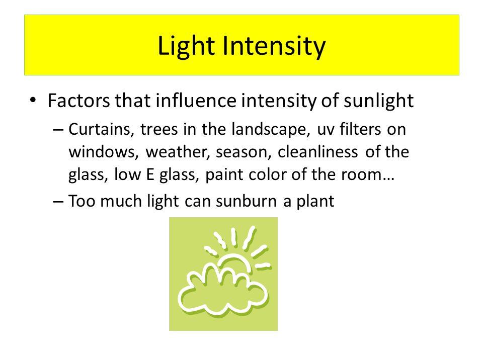 Light Intensity Factors that influence intensity of sunlight