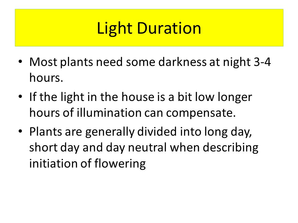 Light Duration Most plants need some darkness at night 3-4 hours.