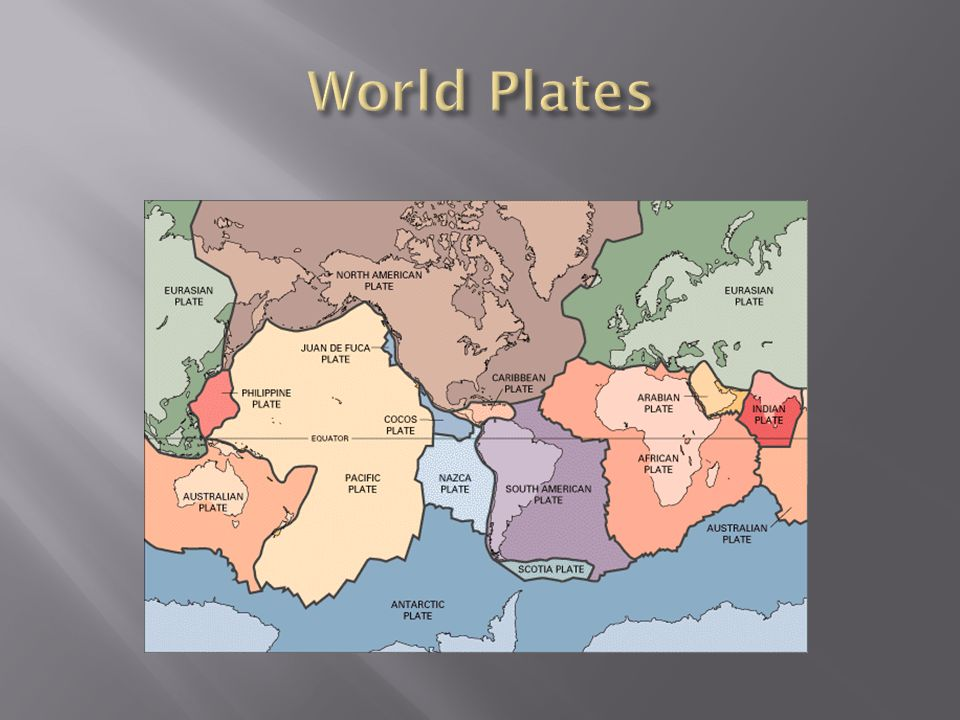 World Plates This diagram shows the major Tectonic Plates.