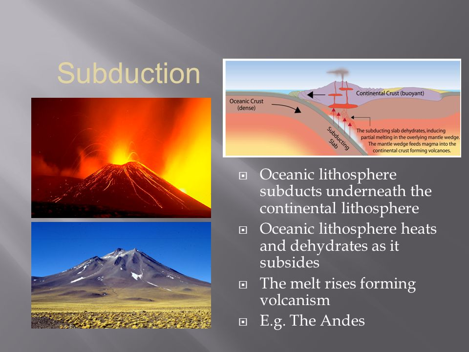Subduction Oceanic lithosphere subducts underneath the continental lithosphere. Oceanic lithosphere heats and dehydrates as it subsides.