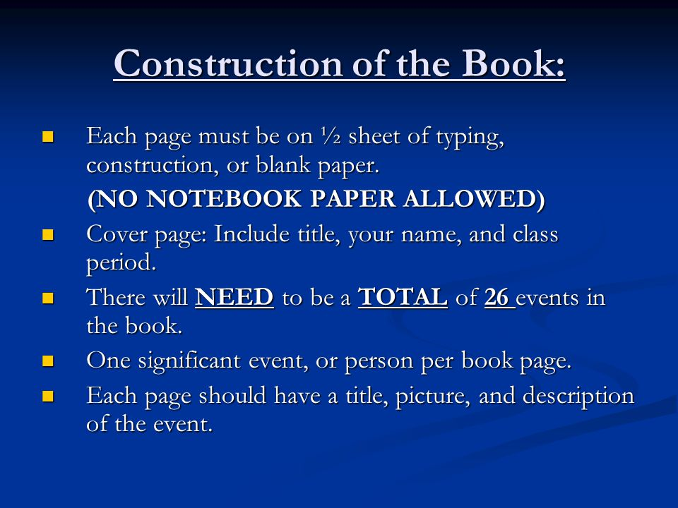 Construction of the Book: