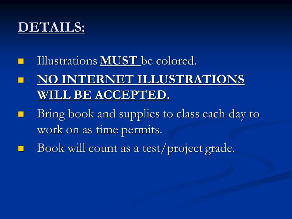 DETAILS: Illustrations MUST be colored.