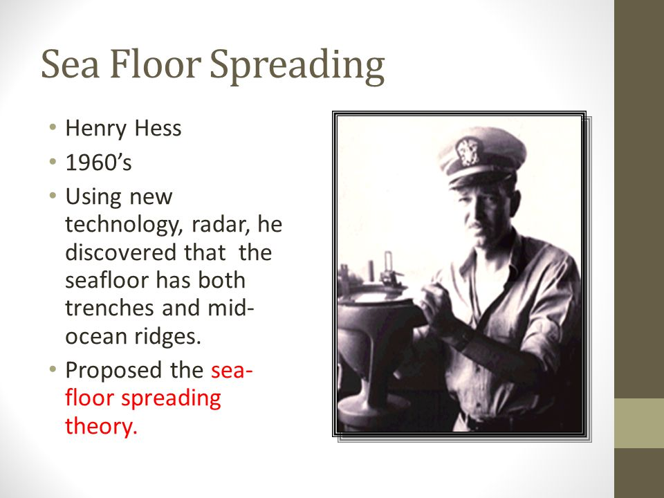 Sea Floor Spreading Henry Hess 1960's